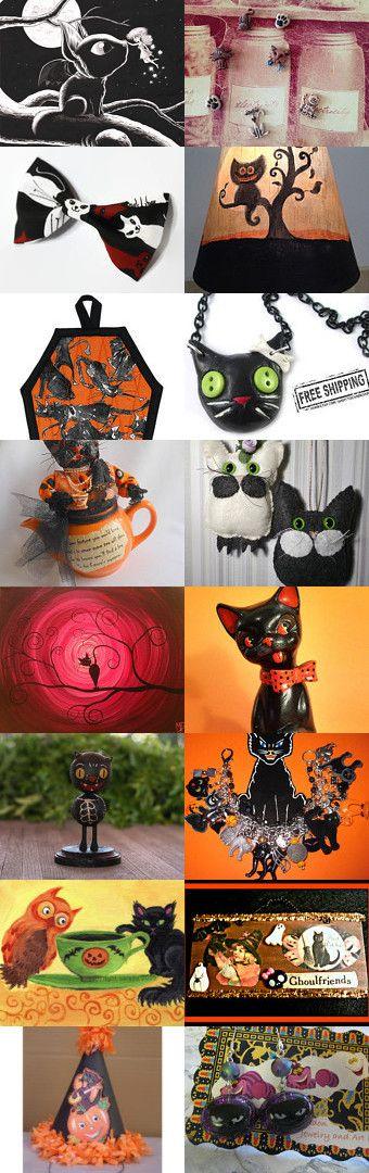 For the love of Halloween cats. HAB by TwilightFaerie on Etsy--Pinned with TreasuryPin.com #blackcat #halloween #halloweenartistbazaar