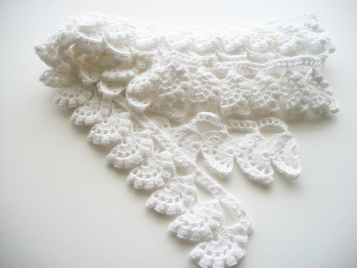 Crochet Heirloom Stitches : Crochet Lace Edging Cotton Trim Fans with Popcorn Stitch Heirloom Qua ...