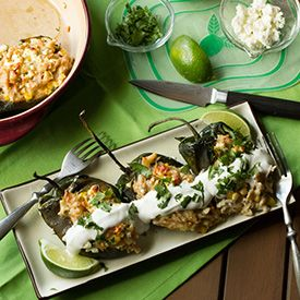 Roasted poblano peppers stuffed with corn, jalapeño, and orzo mac ...