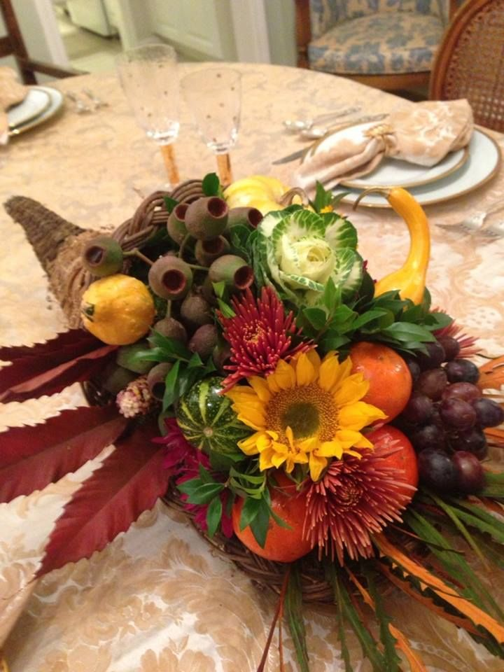 Cornucopia thanksgiving centerpieces from any vase