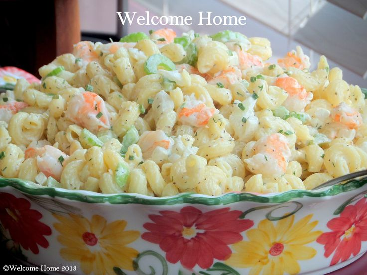 Salad 1 c cooked pasta 1 lb lg precooked shrimp 1 c diced celery ...