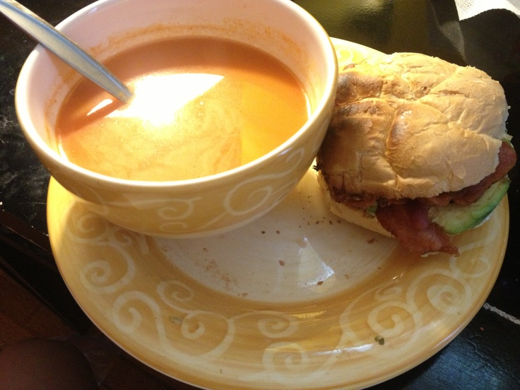 Campbell's tomato bisque soup. Bacon, egg , mozzarella cheese ...