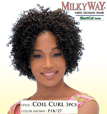 milkyway shortcut human hair weave coil curl 3pcs