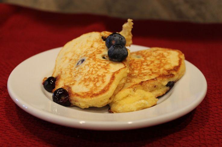 Monday Breakfast- Blueberry Cornmeal Pancakes