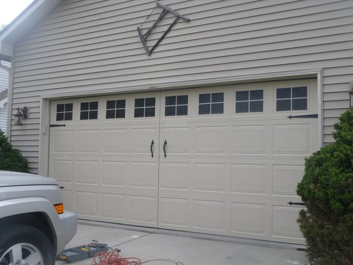 Faux carriage garage door ideas pinterest for Faux carriage garage door