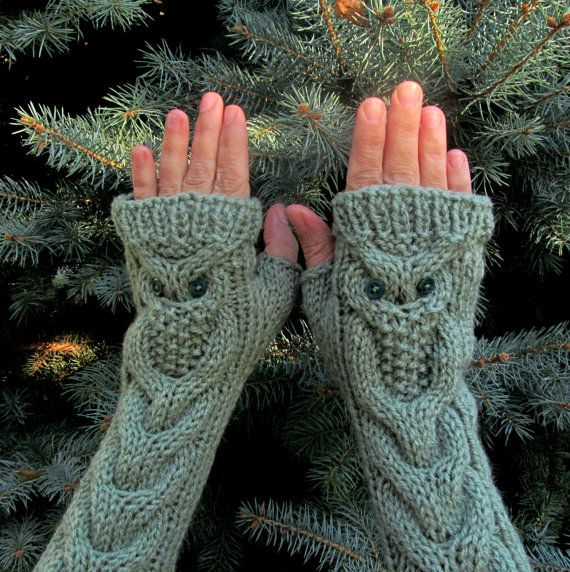 Owl Light Gray Long Hand Knitted Arm Warmers Fingerless Gloves, Woman?