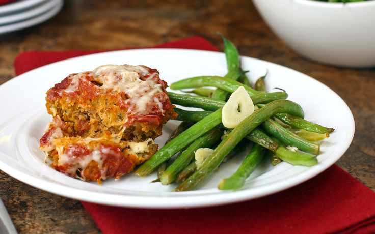 Simply Cheesy Italian Mini Meatloaf and Green Beans in 30 Minutes