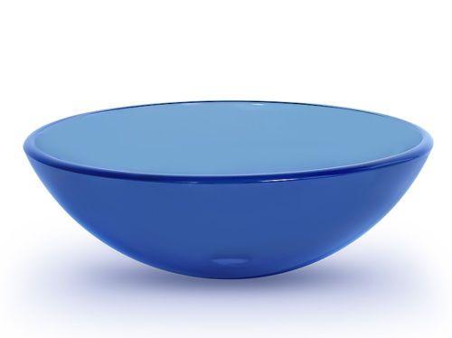 ... Glass Vessel Sink Bathroom Vanity Lavatory Basin Bowl Blue 1/2