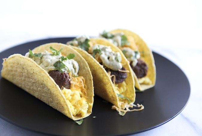 delicious breakfast tacos are loaded with chorizo and scrambled eggs ...