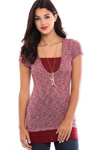 Deb Shops Short Sleeve 2fer Top $15.75