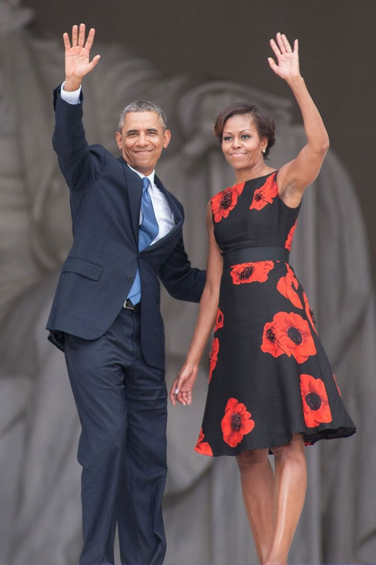 Michelle Obama -What a stunning dress. And the poppies--a symbol of remembrance.