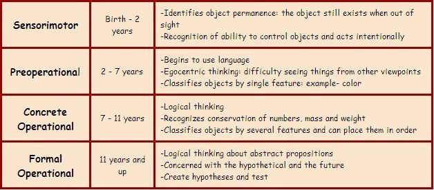 jean piagets theory of stages of cognitive development Piaget's stages of cognitive development account for the gradual unfolding of  thinking skills over an individuals life span each stage is age related it is the.