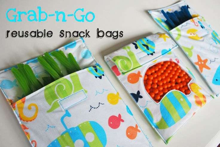 Made from vinyl tablecloths: Grab-n-Go Reusable Snack Bags:Tutorial