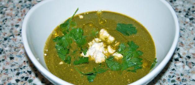 Swiss chard, herb and feta soup