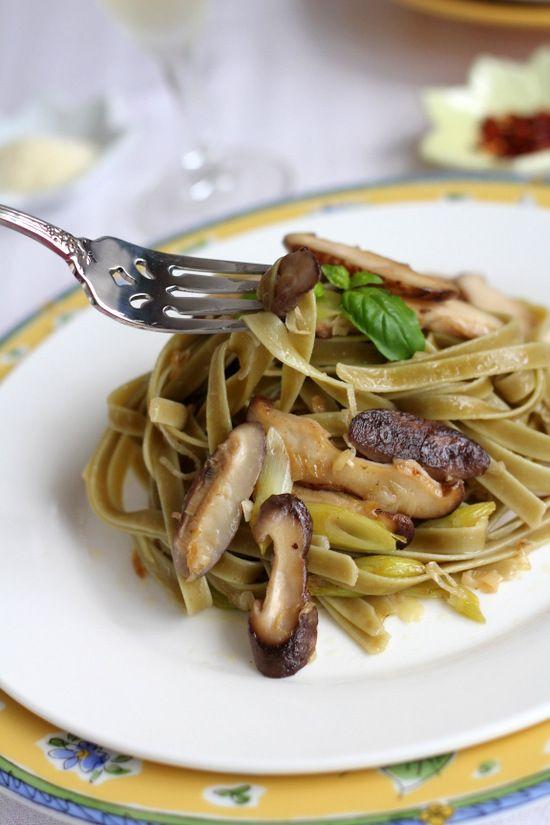 Leek & Mushroom Pasta--try with Konteki Pearls of Simplicity