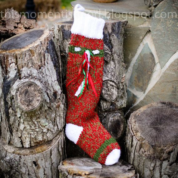 Christmas Stocking Loom Knitting Pattern : Loom Knit Christmas Stocking Pattern! Extra Long and Thick ...
