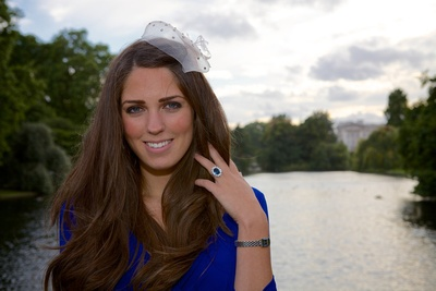 Our winning Kate Middleton lookalike striking a pose in London