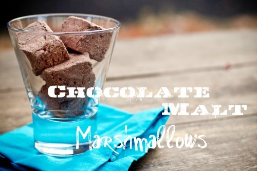 Homemade Chocolate Malt Marshmallows.