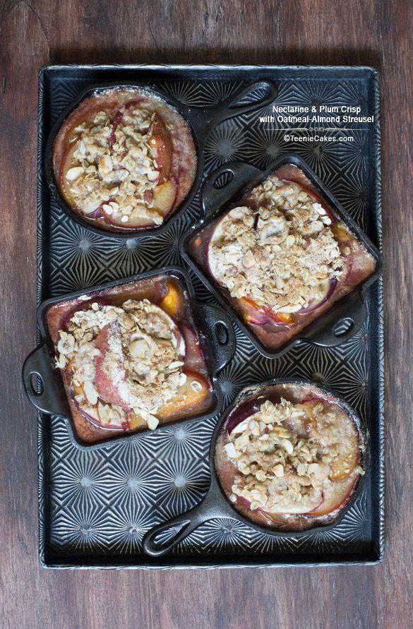 Nectarine & Plum Crisp with Oatmeal-Almond Streusel | TeenieCakes.com