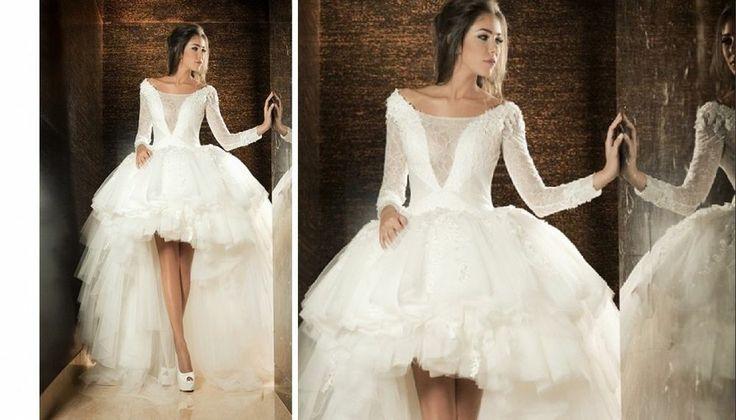 Sexy asymmetrical high low white ivory long sleeve wedding for Long sleeve high low wedding dresses