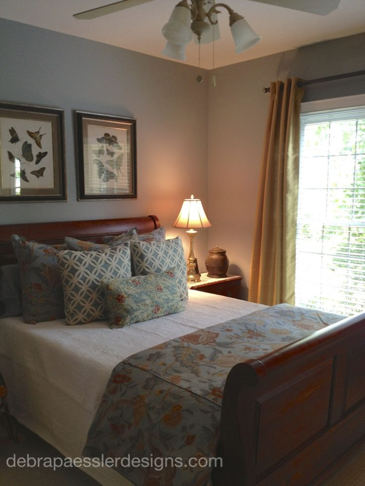 lovely guest room in benjamin moore paint color beach glass