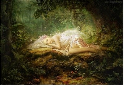 """Jigsaw Puzzles 1000 Pieces """"Forest Fairy Lying"""" / Fantasy"""