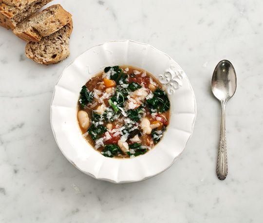kale, mushroom + white bean soup