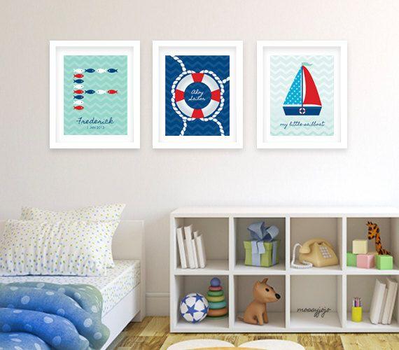 Decor nursery fish sailboat lifesaver personalized baby nursery