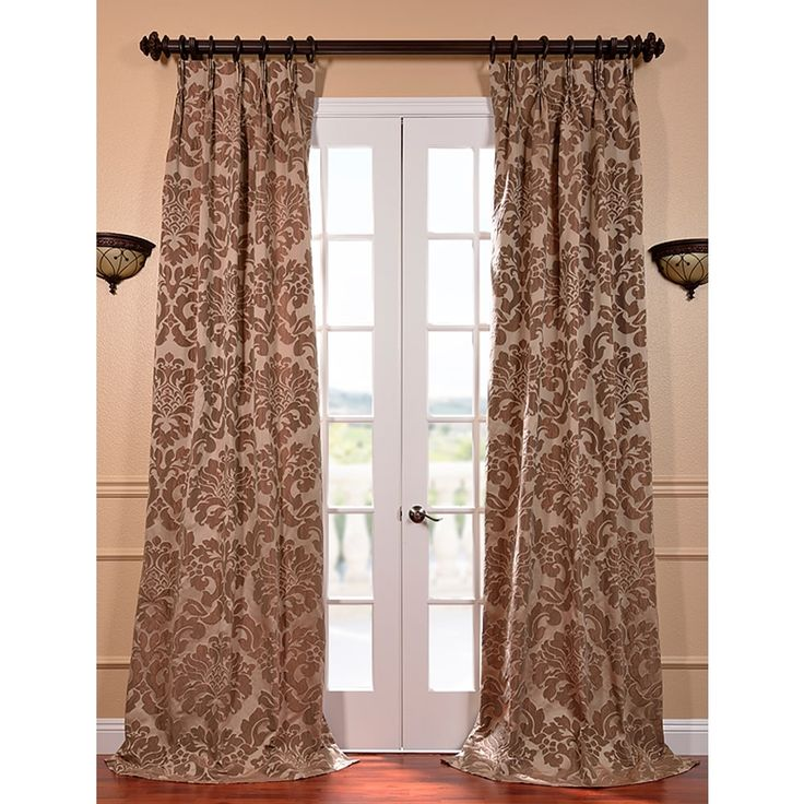 ... Mushroom Faux Silk Jacquard French Pleated Curtains | Overstock.com