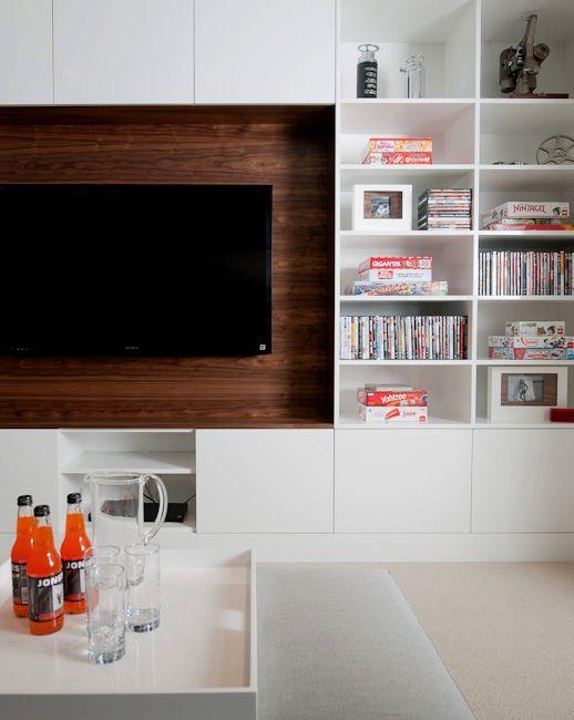 Modern media center construction pinterest for Media room built in cabinets