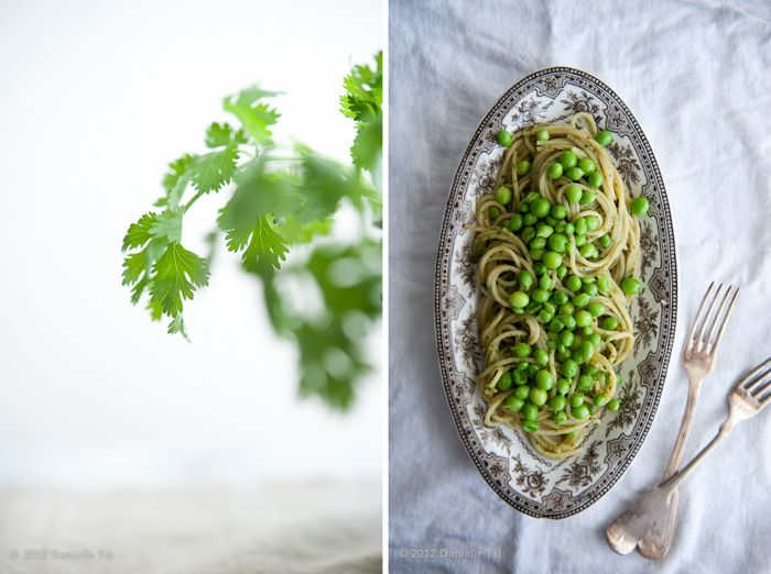 beautiful, simple pasta dish w/ green goddess dressing and peas