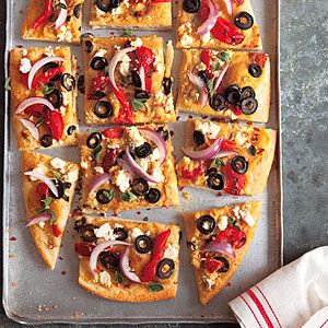 ... delicious! Roasted Red Pepper, Feta and Hummus Pizza | MyRecipes.com