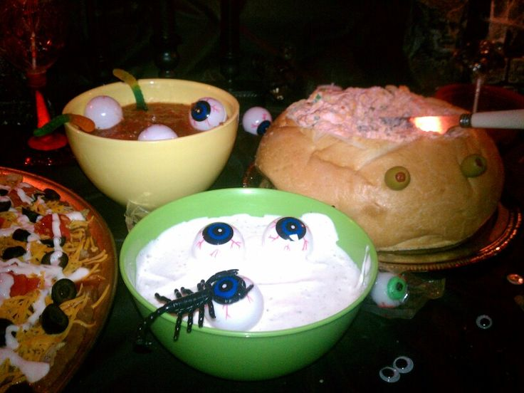 Food and decorations at the Halloween Party 2013. Brain Cheese Dip ...