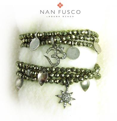 necklace/triple wrap bracelet with diamonds, sterling, tahitian keishis... green/gold pyrite. Nan Fusco Jewelry