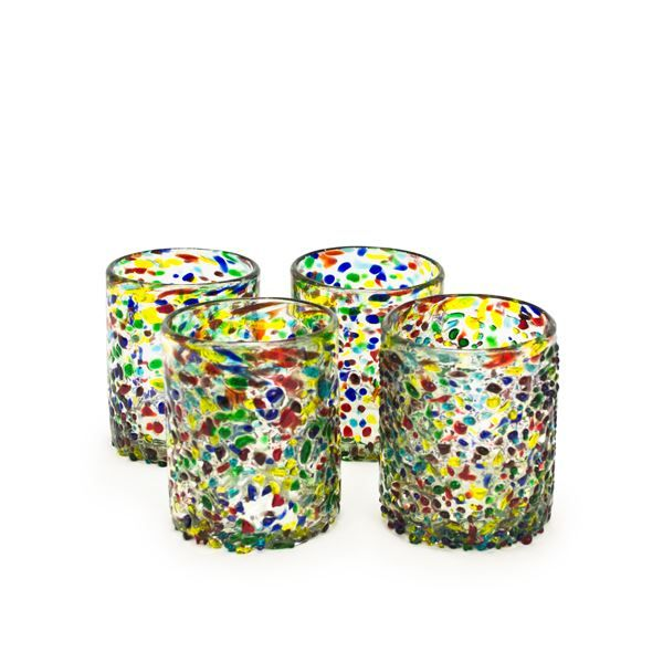 Confetti Recycled Tumbler Glass - Set of 4, reg. $25,  handblown recycled glass, made in Mexico