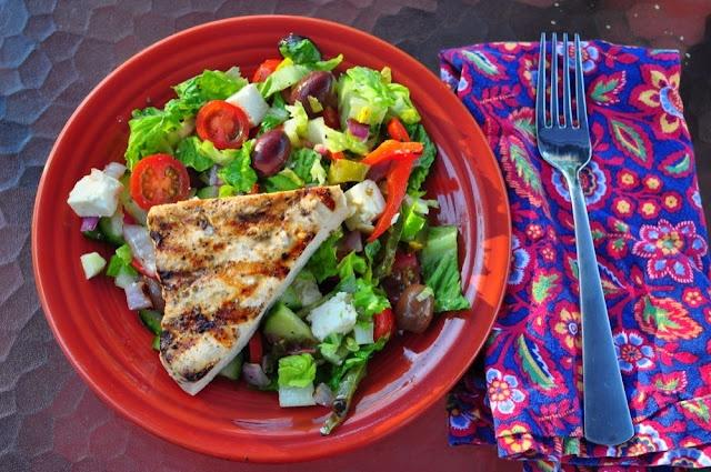 Dad Cooks Dinner: Grilled Swordfish With Greek Salad