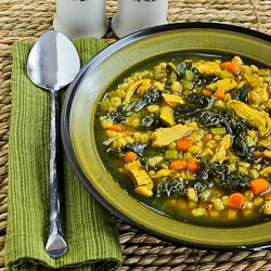 Recipe for Chicken Soup with Farro, Kale, and Turmeric from Kalyn's ...