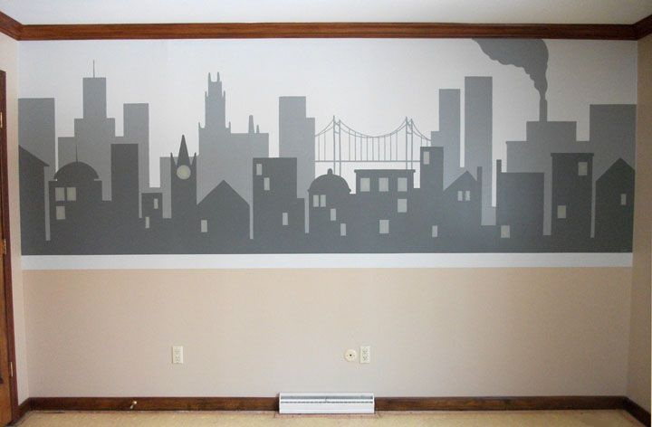 Cityscape mural mural pinterest for City scape mural