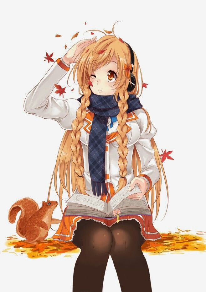 Anime Girl Autumn Wind Leaves Squirrel Anime