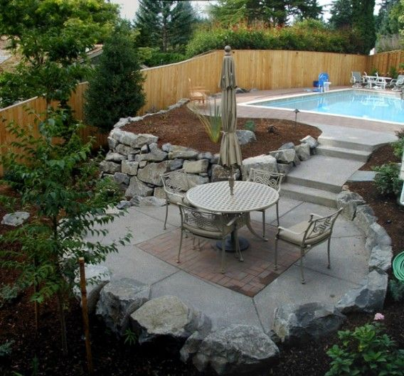Cement Backyard Garden : Concrete Patio Garden Design Beauty Concrete Patio Outdoor Art Ideas