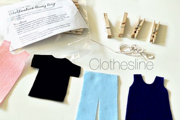 toddler busy bag: clothesline