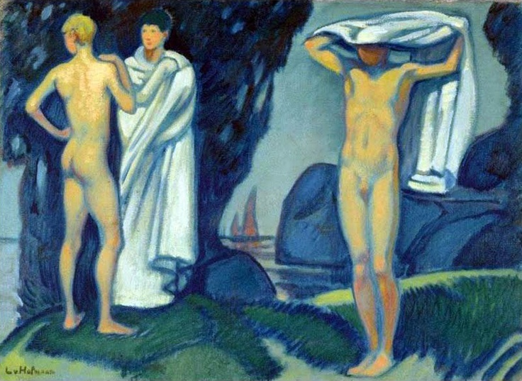 Nude Male Bathers by Ludwig Von Hofmann