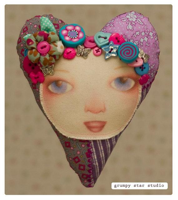 OOAK Art Doll  by mel macklin of Candytuff the SewnUp Sweetheart by grumpystarstudio on Etsy