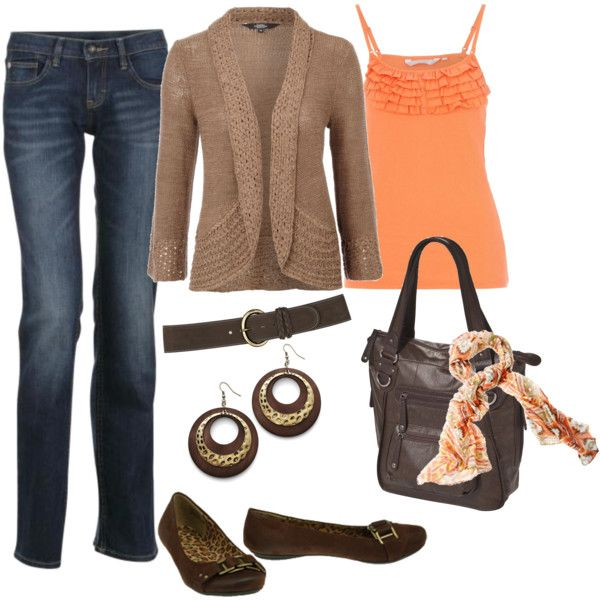 brown with a orange tank and blue jeans
