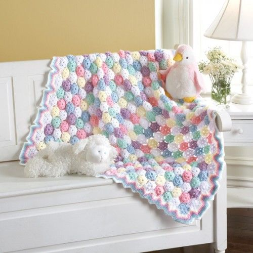 Tiny Bubbles Blanket (Crochet Kit): worsted yarn and E hook.