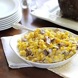 Creamy Parmesan Corn with Bacon | Stuff I want to eat | Pinterest