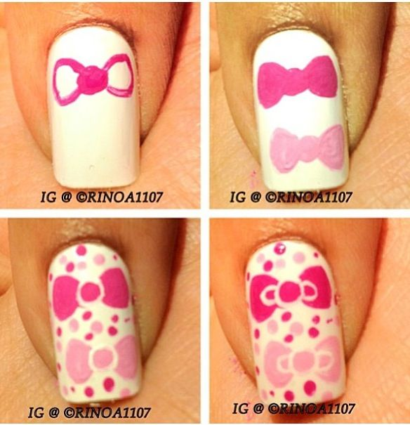 Hello Kitty Bow Nail Art   Nailed it    Pinterest