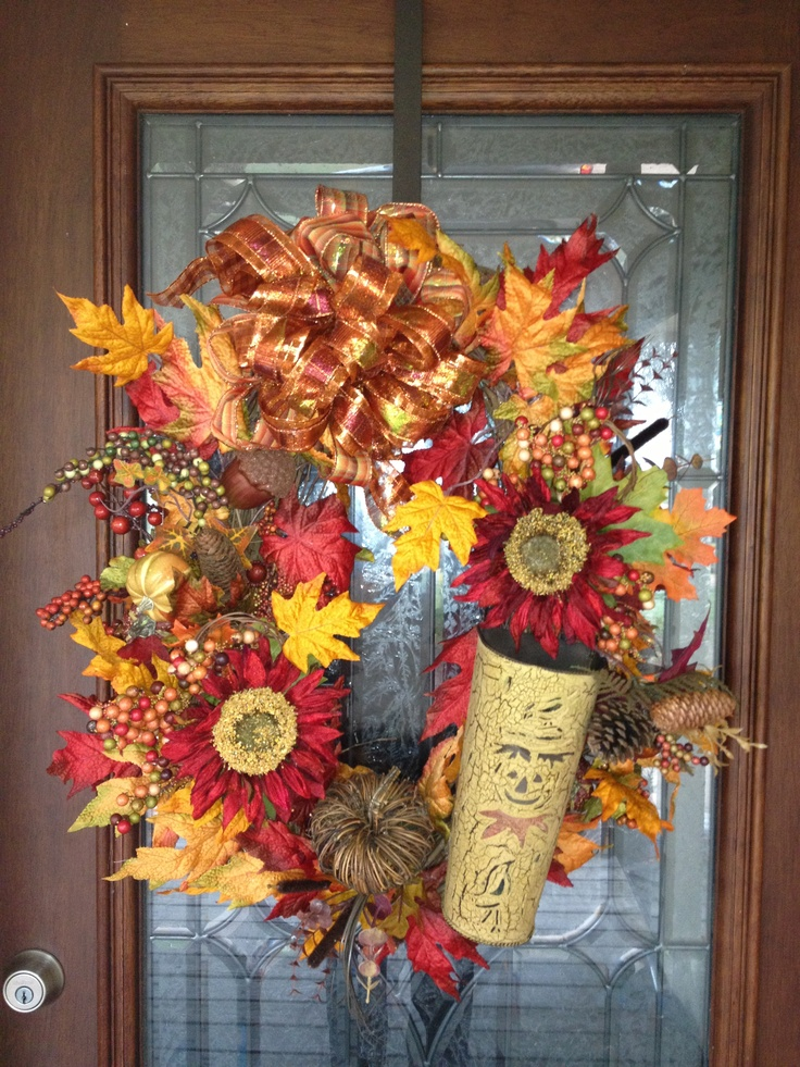 Fall wreath for front door autumn wreaths pinterest Fall autumn door wreaths