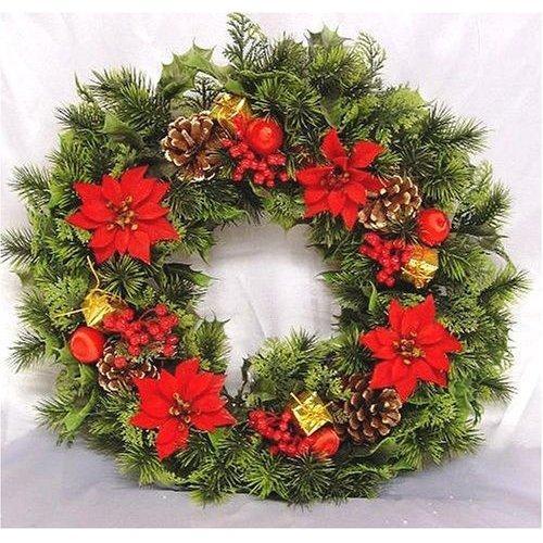 Poinsettia Christmas Wreath.