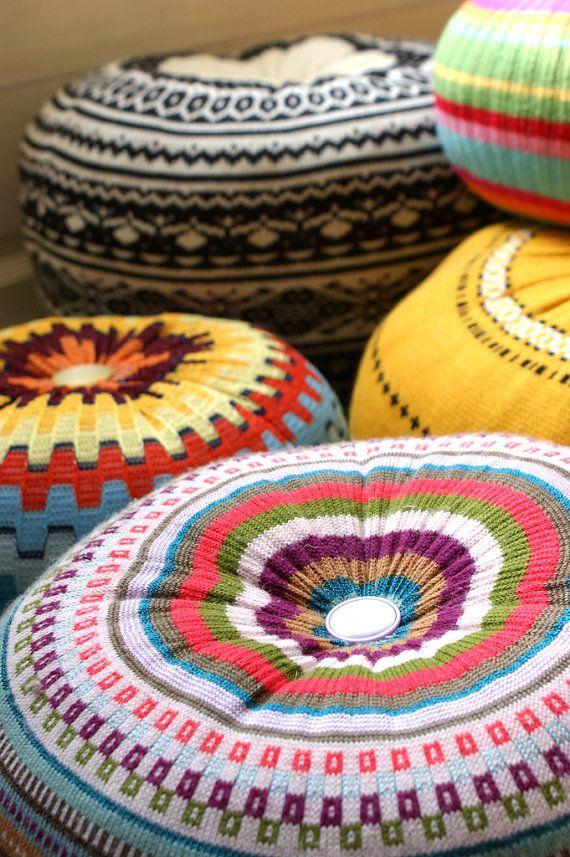 Upcycled eco knit fairisle, cable floor cushion pouf hassock